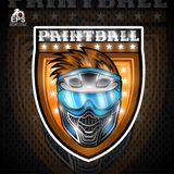 Paintball mask in the center of shield. Sport logo for any team or tournament.  vector illustration