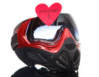 Paintball mask with heart shape sticker. On white background Royalty Free Stock Image