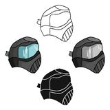 Paintball mask icon in cartoon style isolated on white background. Paintball symbol stock vector illustration. Paintball mask icon in cartoon design isolated on royalty free illustration