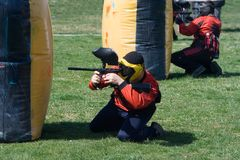 Paintball match royalty free stock photo