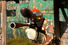 Paintball men. Extreme play attack Stock Images