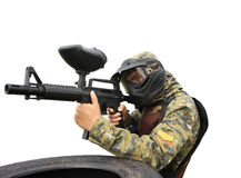 Paintball player. Player full equipped for a tactical paintball game stock image