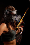 Paintball player. Image of a paintball player in protective helmet Royalty Free Stock Photography