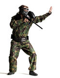 Paintball player in action isolated. Profi Royalty Free Stock Photo
