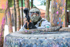 Paintball player. Aiming the target Stock Photo