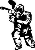 Paintball. Player - black and white illustration Stock Photos