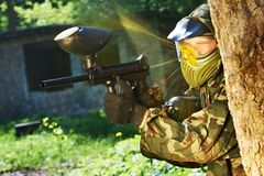 Paintball player direct hit Royalty Free Stock Photo