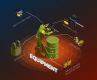Paintball Player Isometric Infographics Royalty Free Stock Images