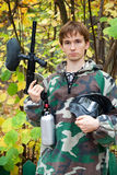Paintball player looks in the face Royalty Free Stock Photography