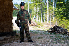 Paintball player posing for camera Royalty Free Stock Photos