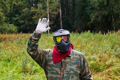 Paintball player with a spot of paint on goggles Royalty Free Stock Photo