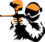 Paintball. Player - stylized black and orange illustration Royalty Free Stock Photography