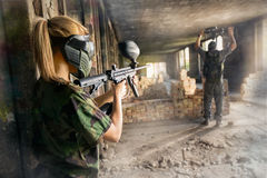 Paintball player surrender Stock Photos