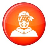 Paintball player wearing protective mask icon Stock Images