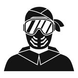 Paintball player wearing protective mask icon Royalty Free Stock Image