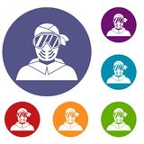 Paintball player wearing protective mask icons set. In flat circle reb, blue and green color for web Royalty Free Stock Photo