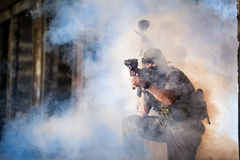 Paintball players in action Stock Image