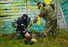 Paintball players captured the enemy Royalty Free Stock Photos