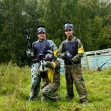 Paintball players in full gear Royalty Free Stock Photo