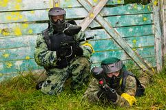 Paintball players in full gear Stock Images