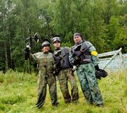Paintball players in full gear Royalty Free Stock Images