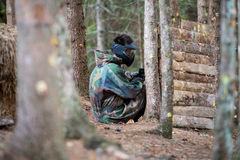 Paintball Players Hiding Royalty Free Stock Images
