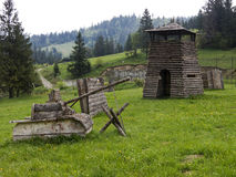 Paintball playground in Volosyanka village in Carpathians, Ukrai Stock Photo