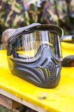 Paintball protection mask is on the surface, close-up.