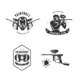 Paintball related design elements set. Vector vintage illustration. Paintball related design elements set. Monochrome emblems. Vector vintage illustration Stock Photos