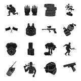 Paintball set icons in black style. Big collection of paintball vector symbol stock illustration. Paintball set icons in black design. Big collection of Stock Image