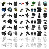 Paintball set icons in cartoon style. Big collection of paintball vector symbol stock illustration. Paintball set icons in cartoon design. Big collection of Stock Photos