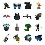 Paintball set icons in cartoon style. Big collection of paintball vector symbol stock illustration Royalty Free Stock Photo