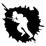 Paintball silhouette into the drop Royalty Free Stock Image