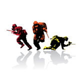 Paintball silhouettes. Colored paintball silhouettes with reflection,  illustration Stock Photos