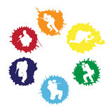 Paintball silhouettes into the drops. Colored paintball silhouettes into the drops,  illustration Stock Image