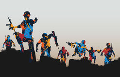 Paintball soldiers. Editable vector illustration of paint splattered armed soldiers charging forward Royalty Free Stock Image