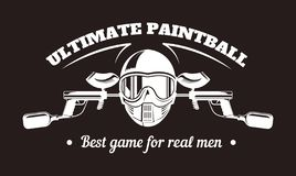 Paintball sport club with best game for real men slogan monochrome logotype. Man in full equipment with tinted mask holds gun with paint and surrounded with vector illustration