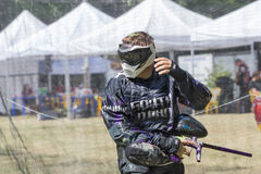 Paintball. Sportsman in riot gear. Stock Photo