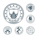 Paintball symbols set. Paintball game symbols print set for badges or labels isolated vector illustration Royalty Free Stock Photo