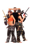 Paintball team. Image of paintball team posing for a camera Royalty Free Stock Images