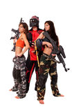 Paintball team. Image of paintball team posing for a camera Royalty Free Stock Photos