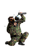 Paintball team in action forest location Stock Images