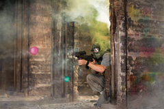 Paintball team in fortification Stock Photo