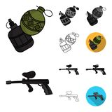Paintball, team game cartoon,black,flat,monochrome,outline icons in set collection for design. Equipment and outfit. Vector symbol stock  illustration Royalty Free Stock Photos