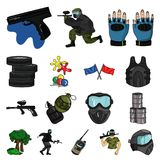 Paintball, team game cartoon icons in set collection for design. Equipment and outfit vector symbol stock web. Paintball, team game cartoon icons in set Royalty Free Stock Images