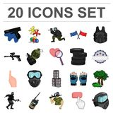 Paintball, team game cartoon icons in set collection for design. Equipment and outfit vector symbol stock web. Paintball, team game cartoon icons in set Royalty Free Stock Image
