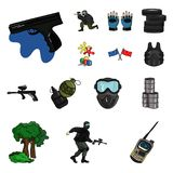 Paintball, team game cartoon icons in set collection for design. Equipment and outfit vector symbol stock web. Paintball, team game cartoon icons in set Royalty Free Stock Photos