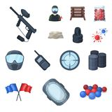 Paintball, team game cartoon icons in set collection for design. Equipment and outfit vector symbol stock web. Paintball, team game cartoon icons in set Stock Photos