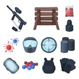 Paintball, team game cartoon icons in set collection for design. Equipment and outfit vector symbol stock web. Paintball, team game cartoon icons in set Stock Photography