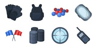 Paintball, team game icons in set collection for design.. Equipment and outfit vector symbol stock  illustration Royalty Free Stock Photo